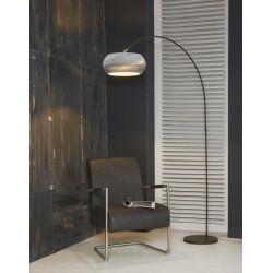 Lampadaire d'intérieur un abat-jour en couches de carton suspendu à un pied en métal brun de style moderne