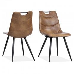 Lot 2 chaises design en tissu Barossas