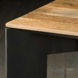 Table basse teck et métal 100 Pandore