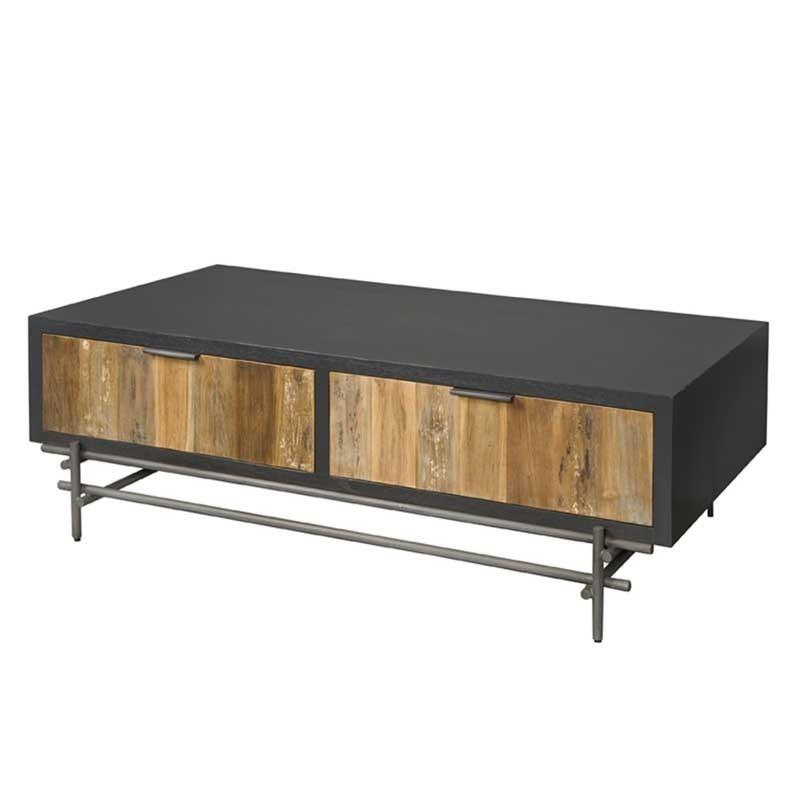 Table basse 4 tiroirs en teck et métal 135x75 Pesar