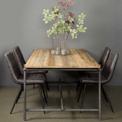 Table à manger en teck et métal Pesar
