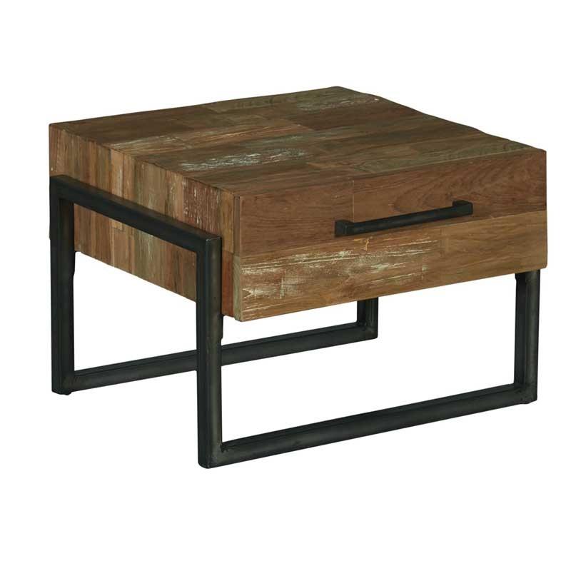 Table basse teck et métal 60 Potenzo