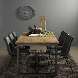 Table à manger teck et métal Potenzo