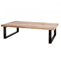 Table basse en manguier et métal 140x80 Manga