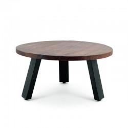 Table basse ronde en manguier et métal 70x70 Manga