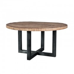 Table à manger ronde en manguier et métal 130x130 Manga