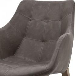 Chaise design en cuir avec accoudoirs Nebas