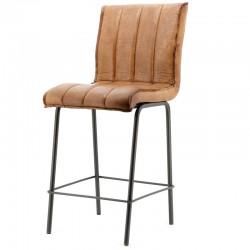 Chaise de bar design en cuir Marvyn