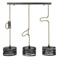 Suspension cylindrique en métal torsadé style industriel 3 ampoules