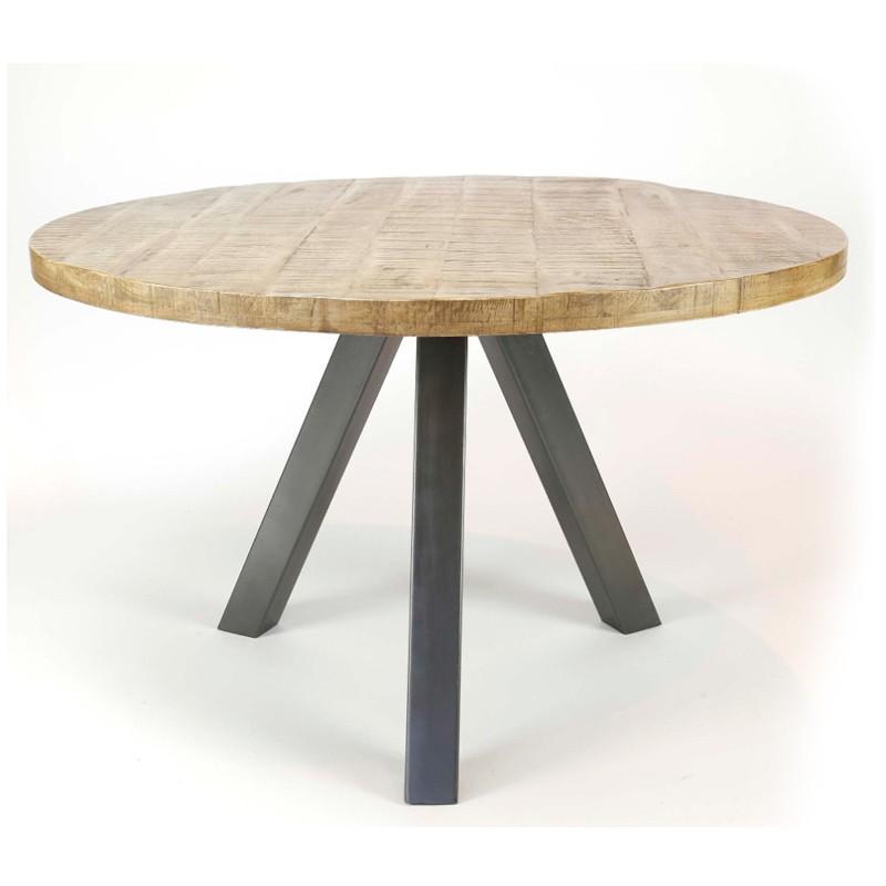Table à manger ronde à vendre en bois manguier et pieds en métal