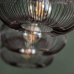 Suspension quatre abat-jours ronds tiges métal style rétro