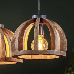 Suspension trois abat-jour demi-cercle en bois de manguier de style moderne