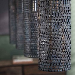 Suspension quatre abat-jours cylindriques style industriel rétro