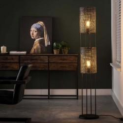 Lampadaire deux abat-jours superposés de style industriel rétro