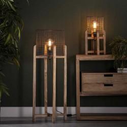 Lampe de table un abat-jour effet grillage sur piètement en bois de style moderne