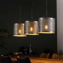 Suspension trois abat-jours cylindriques en métal perforé style moderne tendance