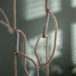 Suspension cinq cercles en métal suspendus à des cordes style industriel moderne