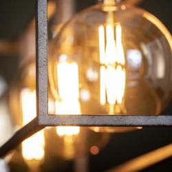 Suspension trois ampoules dans structure métal style industriel