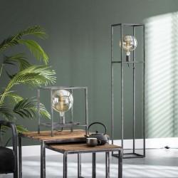 Lampadaire une ampoule dans structure cubique en métal de style industriel