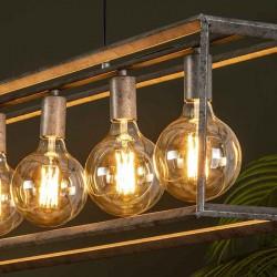 Suspension six ampoules dans une structure en métal de style industriel