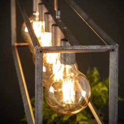 Suspension cinq ampoules dans cadre en métal de style industriel