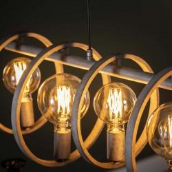 Suspension circulaire sept ampoules de style industriel contemporain