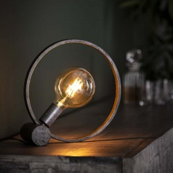 Lampe de table circule une ampoule de style industriel contemporain