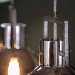 Suspension trois abat-jours cylindriques en verre chromé
