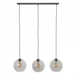 Suspension trois globes en verre transparent style vintage