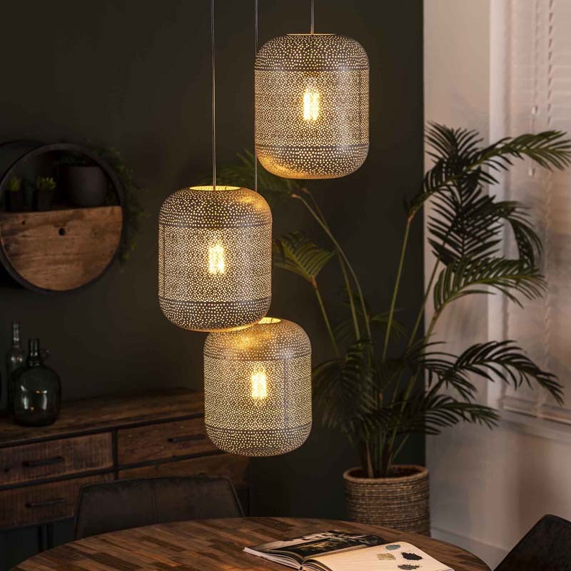 Suspension originale trois abat-jours lampion style contemporain