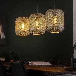 Suspension trois abat-jours alignés forme lampion style contemporain