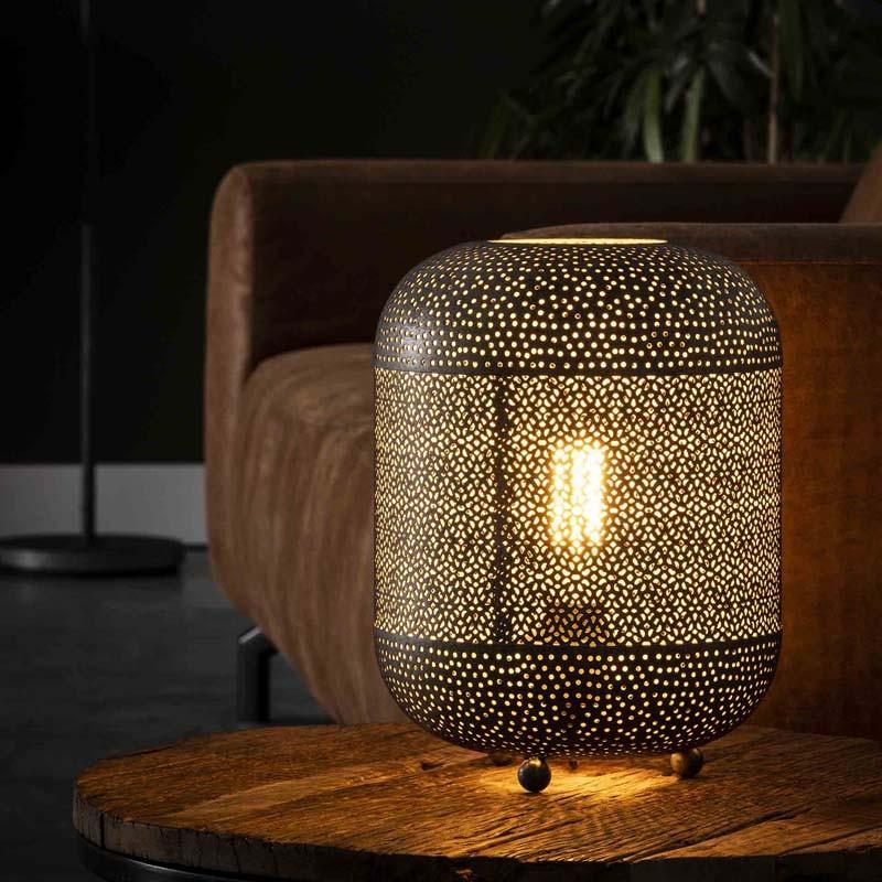 Lampe de table un abat-jour forme lampion style contemporain