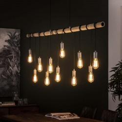 Suspension onze ampoules suspendues à un tuyau en bambou