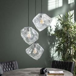 Suspension authentique trois abat-jours en verre soufflé style contemporain