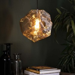 Suspension un abat-jour authentique forme rocher style contemporain