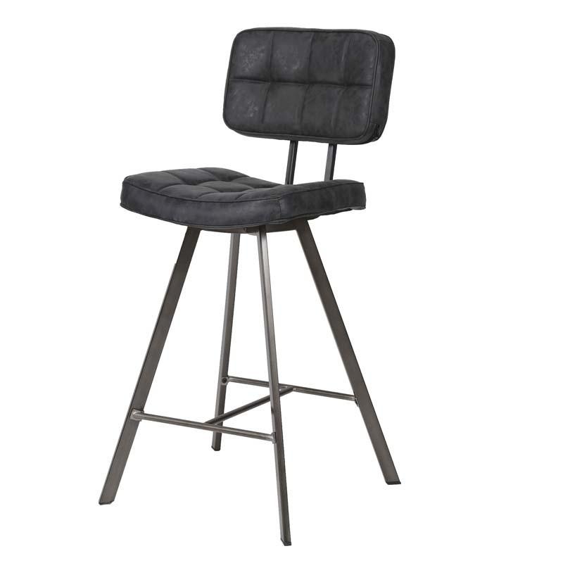 Lot 2 chaises hautes en similicuir captionné