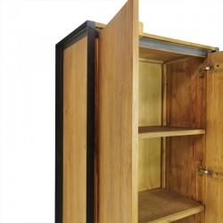 Armoire 2 portes en teck et métal 90 Sacha