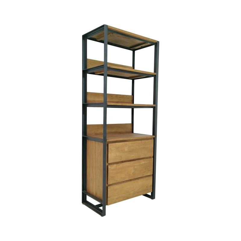 Bibliothèque 3 tiroirs teck recyclé et métal 75 Sacha