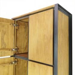 Armoire 6 portes teck et métal 90 Sacha