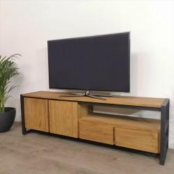 Meuble TV 2 portes teck et métal 180 Sacha
